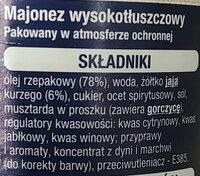 Majonez wysokotłuszczowy - Ingrédients - pl