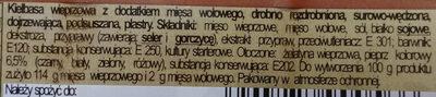 Kiełbasa wieprzowa z dodatkiem mięsa wołowego - Salami z pieprzem - Składniki