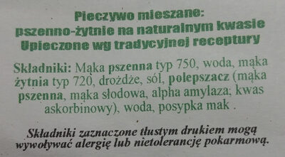 Chleb Baltonowski krojony - Składniki