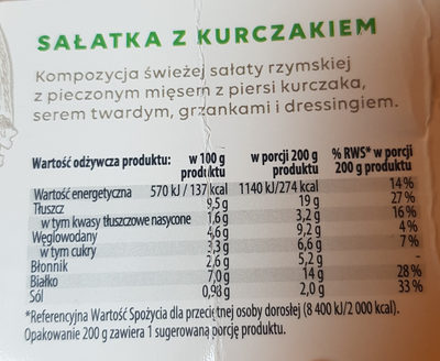 Sałatka z kurczakiem - Voedingswaarden