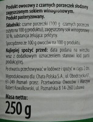 Produkt owocowy z czarnych porzeczek słodzony zagęszczonym sokiem winogronowym - Składniki - pl