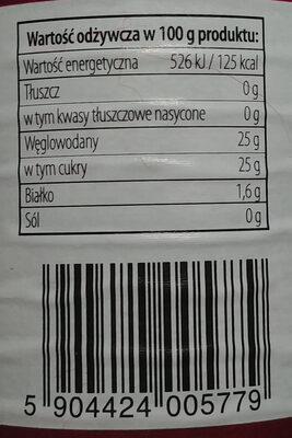 Produkt owocowy z czarnych porzeczek słodzony zagęszczonym sokiem winogronowym - Wartości odżywcze - pl