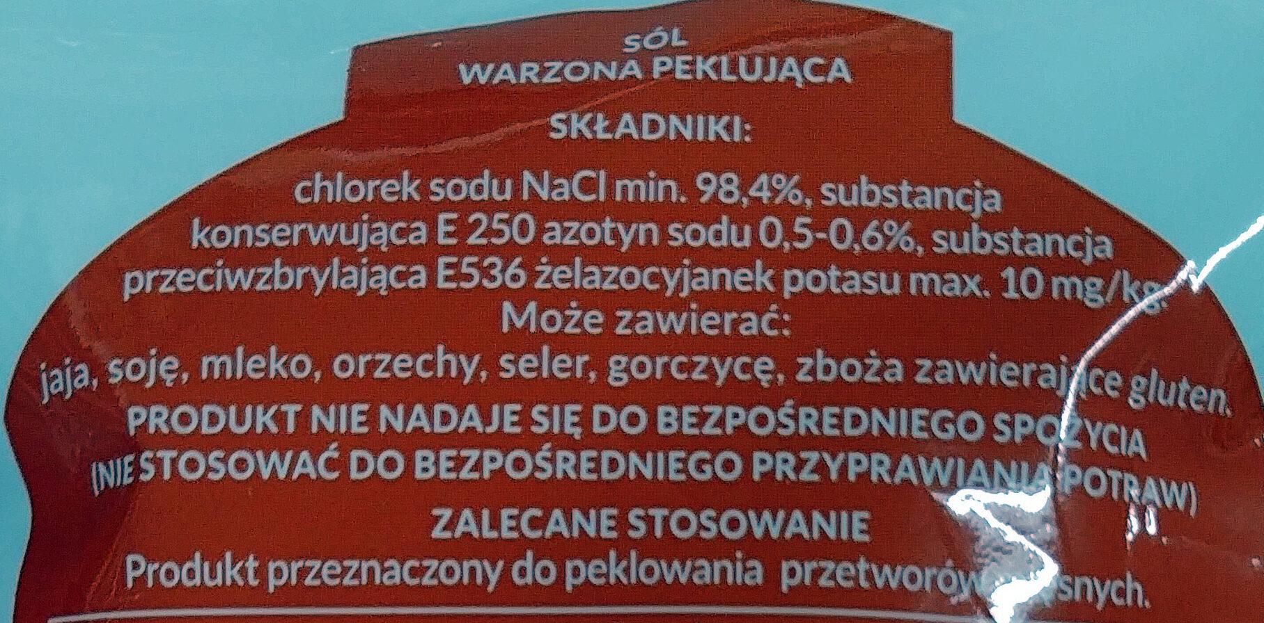 Sól peklująca warzona - Składniki - pl
