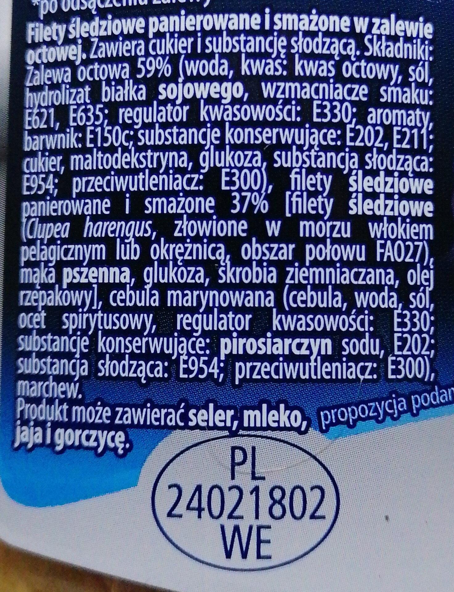 Filety śledziowe panierowane i smażone w zalewie octowej. - Składniki - pl