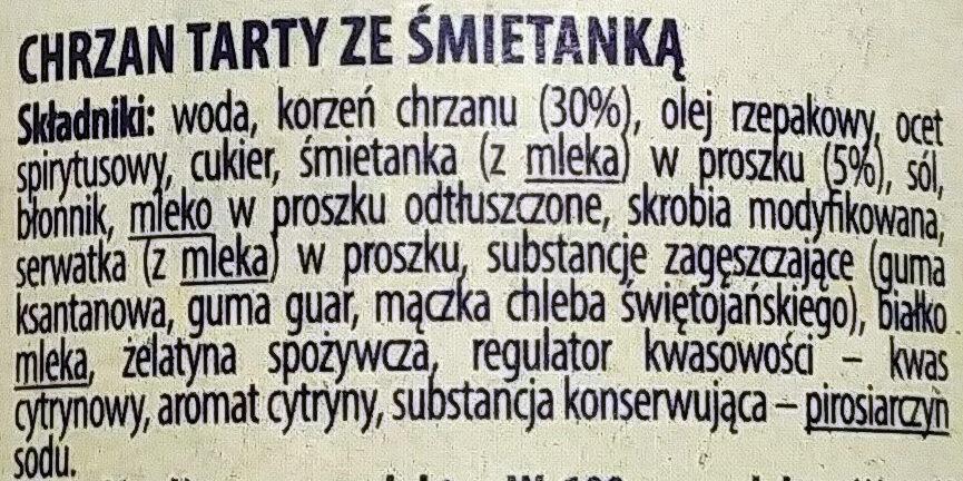 Chrzan tarty że śmietanką - Składniki - pl