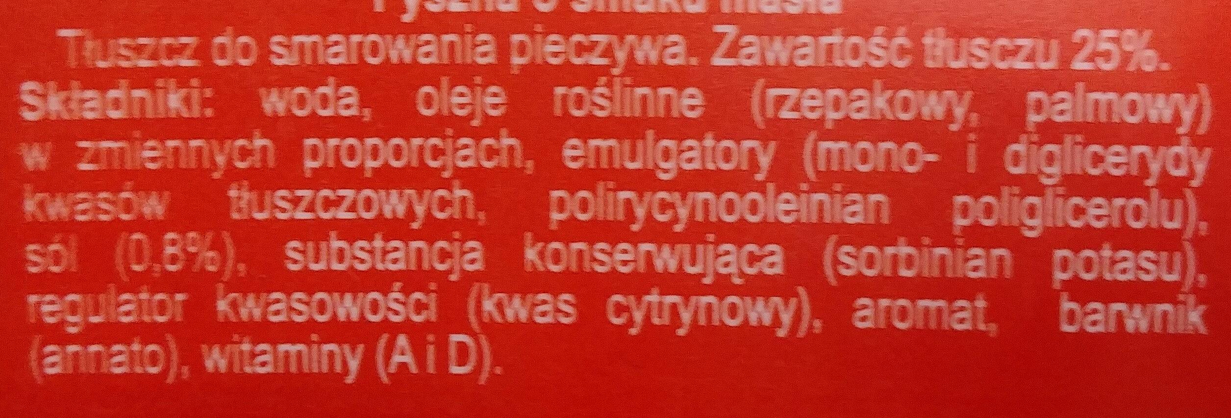 Margaryna Pyszna o smaku masła - Składniki