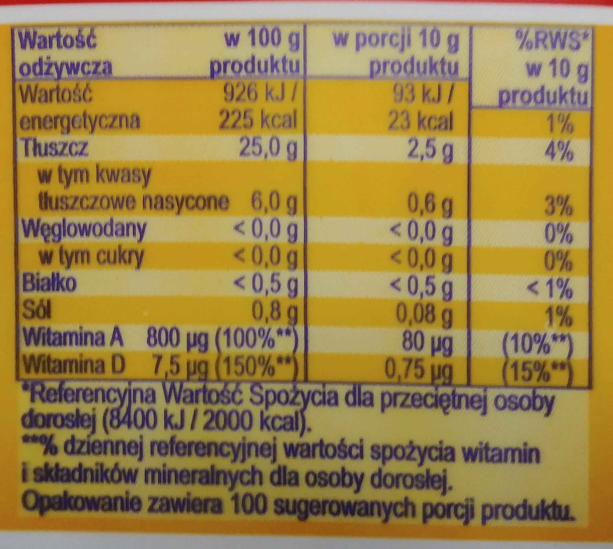 Margaryna Pyszna o smaku masła - Wartości odżywcze