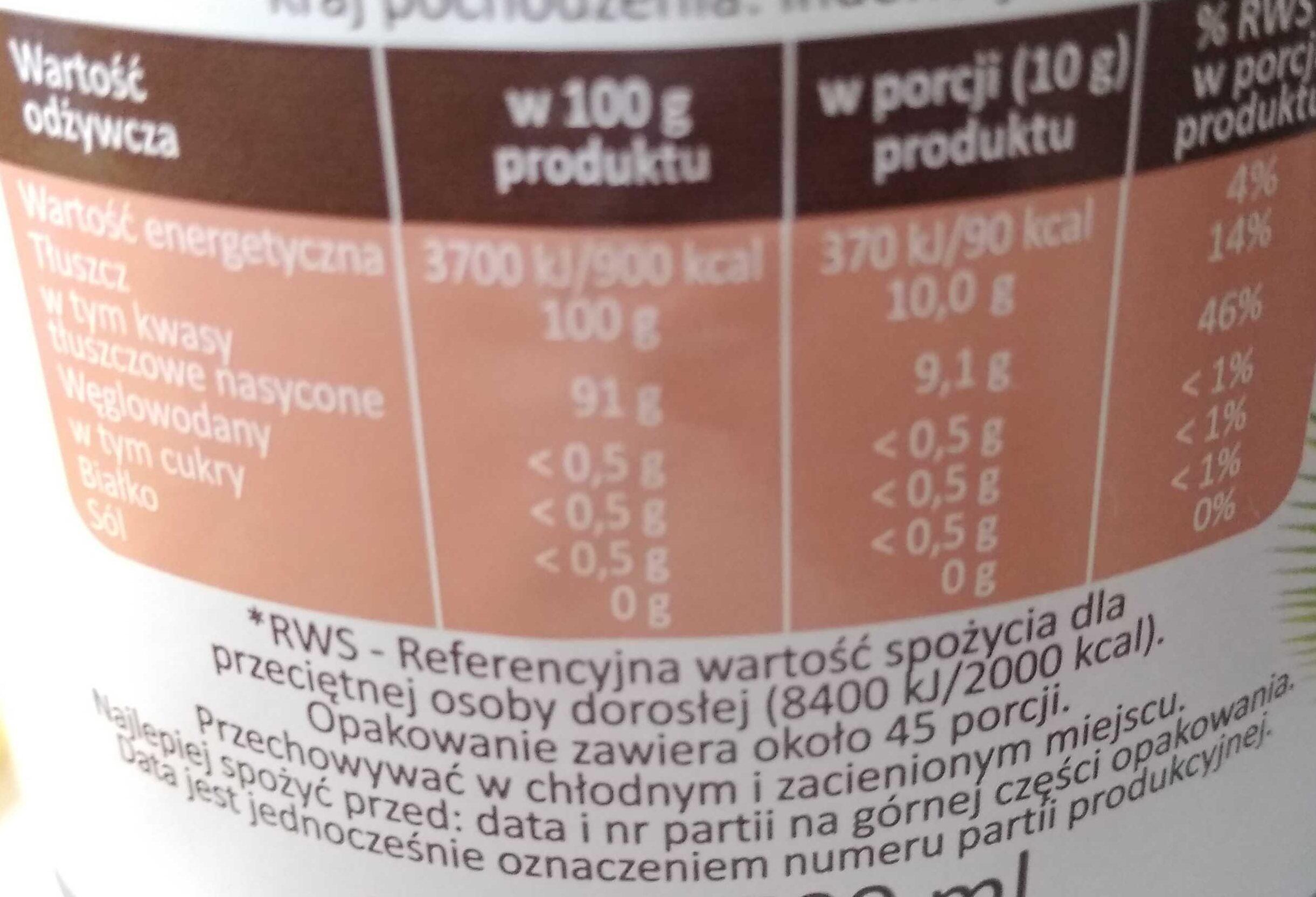 Olej kokosowy - Nutrition facts - en