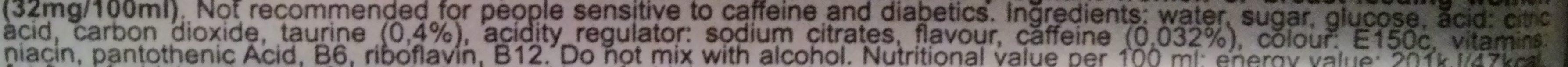 Ozone energy drink - Ingrédients