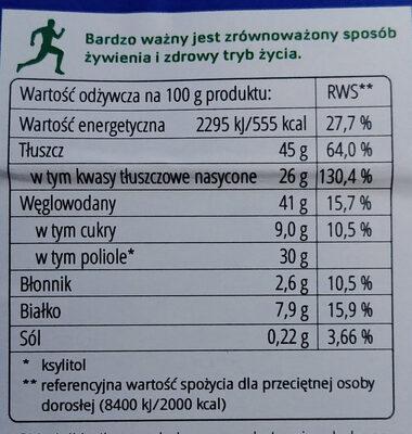 Czekolada śmietankowa z ksylitolem - Wartości odżywcze