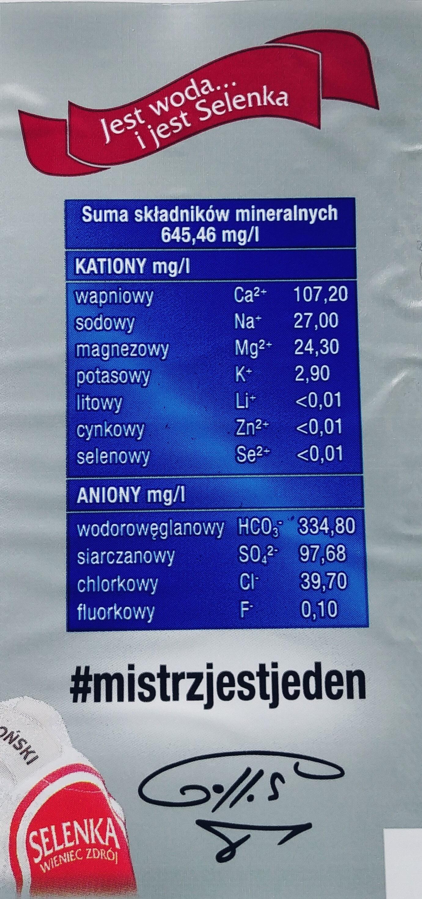 Naturalna woda mineralna - Wartości odżywcze