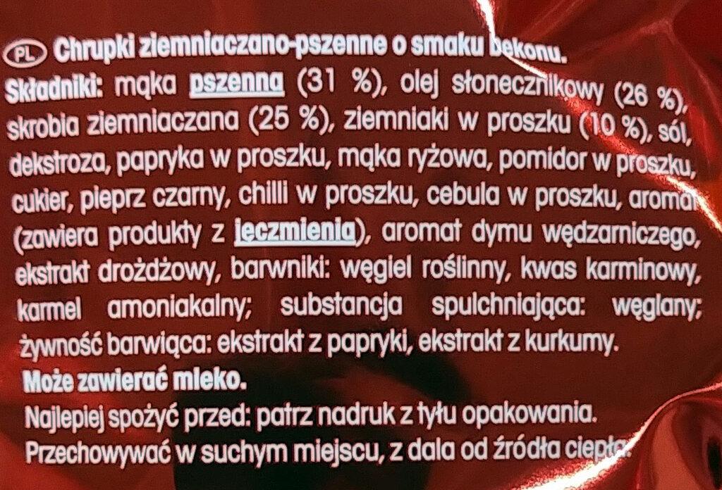Chrupki ziemniaczano-pszenne o smaku bekonu. - Składniki - pl