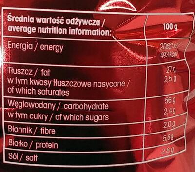Chrupki ziemniaczano-pszenne o smaku bekonu. - Wartości odżywcze - pl