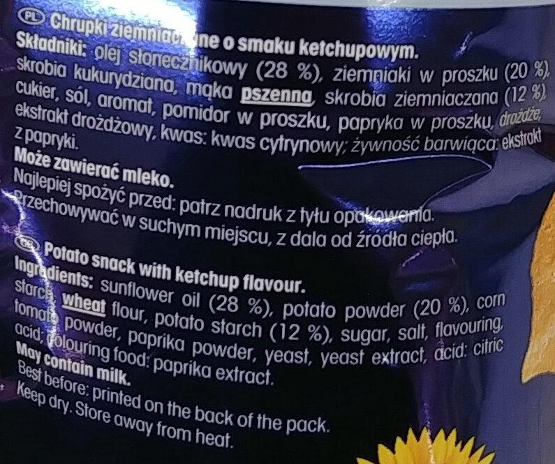 Chrupki ziemniaczane o smaku ketchupu. - Składniki - pl