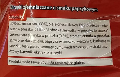 Chrupki ziemniaczane o smaku paprykowym. - Składniki - pl
