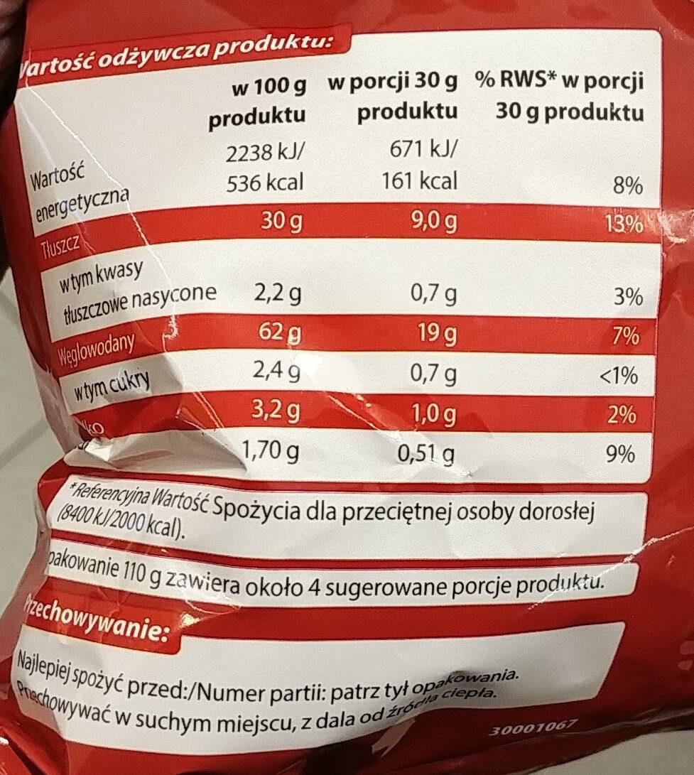 Chrupki ziemniaczane o smaku paprykowym. - Wartości odżywcze - pl