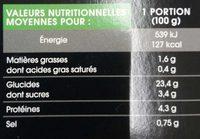 Gyoza Légumes - Nutrition facts - fr
