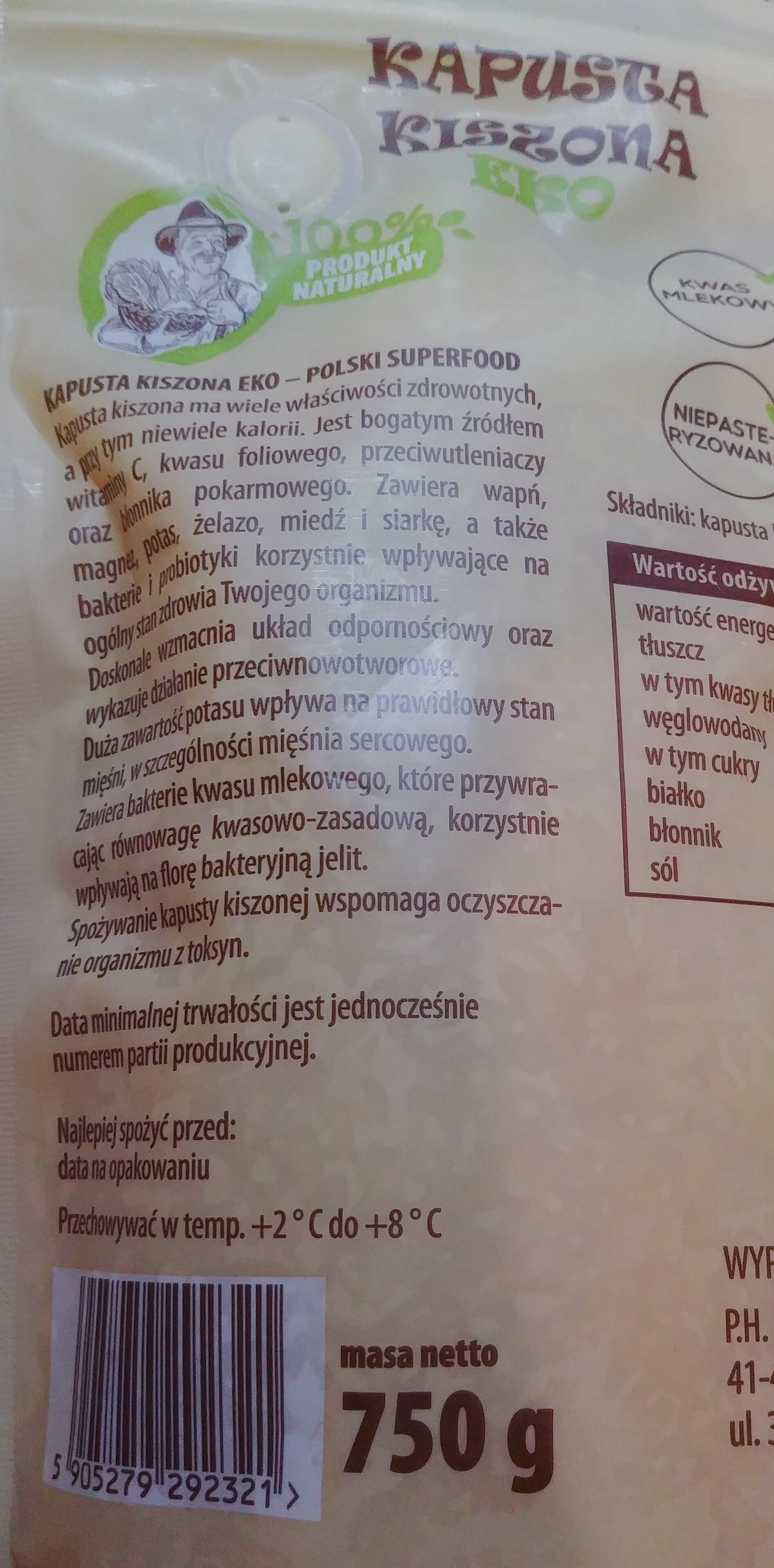 Kiszona kapusta eko - Składniki - pl
