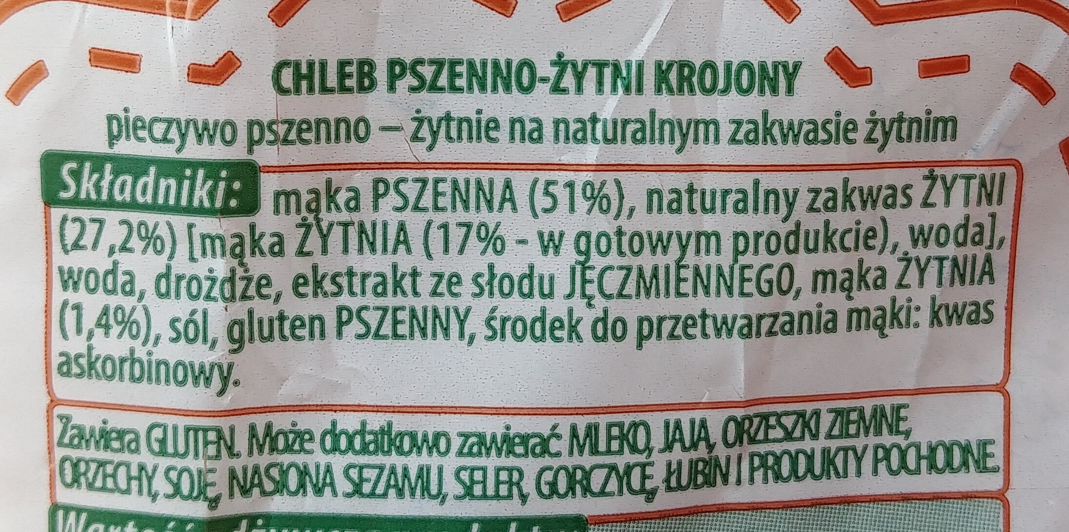 Chleb pszenno-żytni krojony. - Składniki - pl