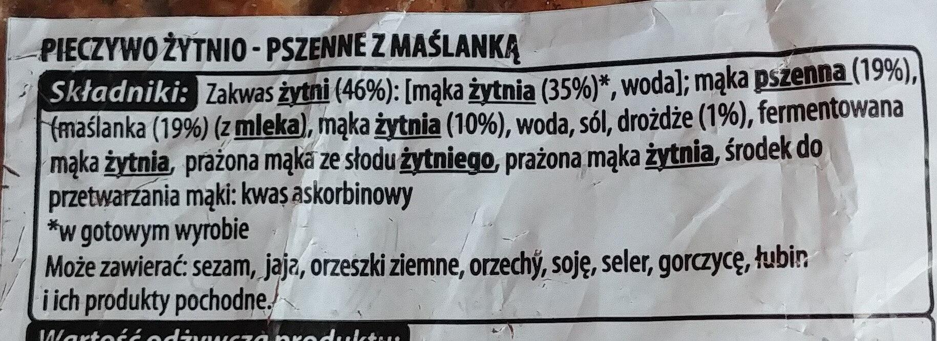 Pieczywo żytnio-pszenne z maślanką - Ingredients - pl