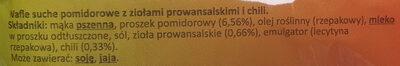 Wafle pomidorowe z ziołami prowansalskimi i chili - Składniki - pl