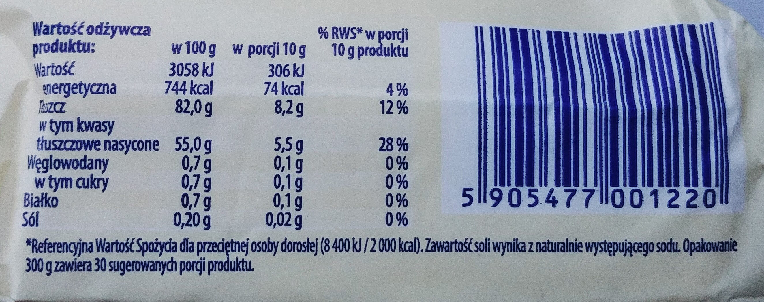 Masło osełkowe - Wartości odżywcze - pl