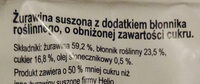 żurawina suszona - Składniki - pl