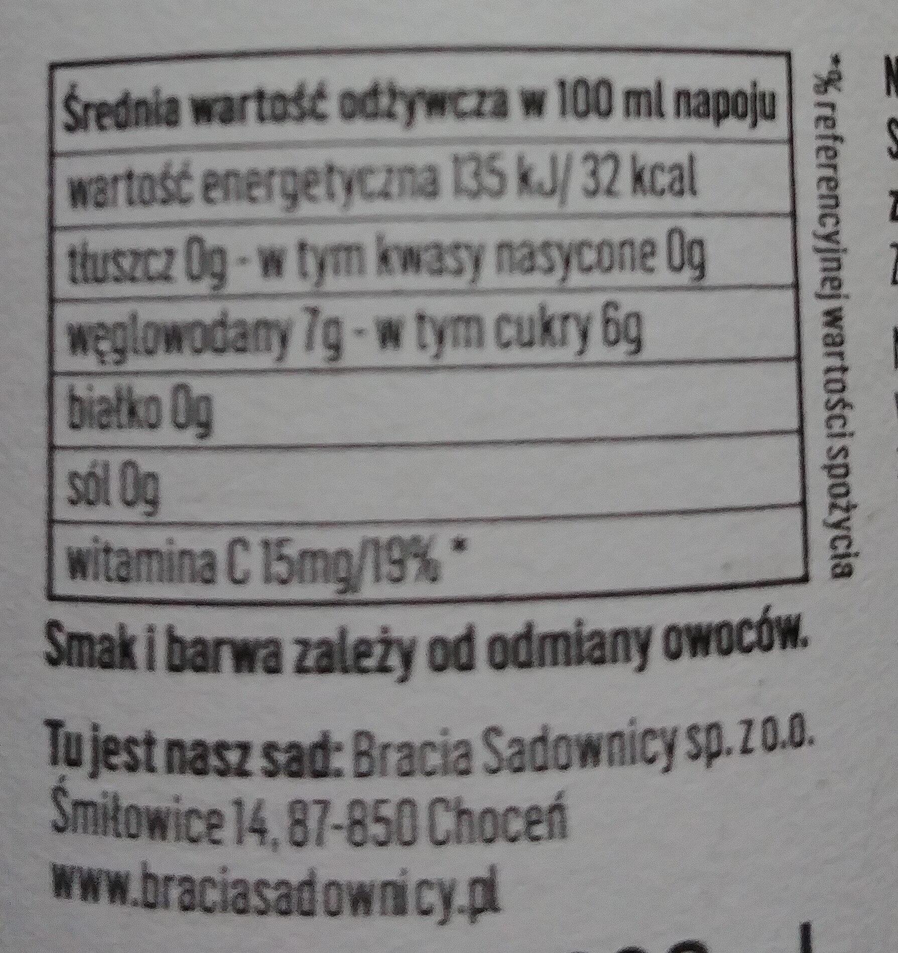 Napój lekko gazowany musujące jabłko i czarna porzeczka - Wartości odżywcze