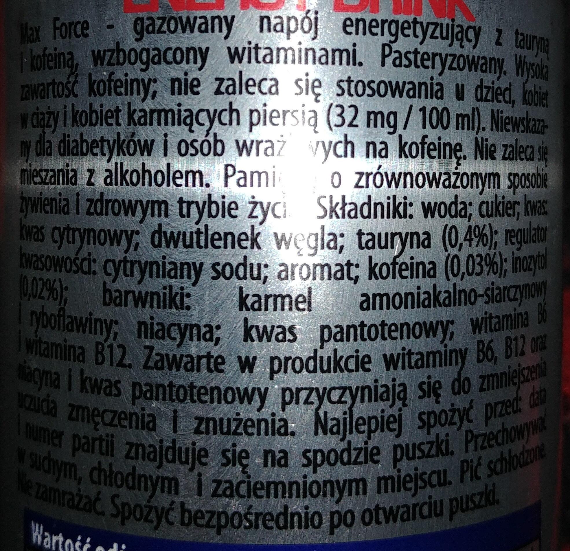 Max Force - gazowany napój energetyzujący z tauryną i kofeiną - Składniki - pl