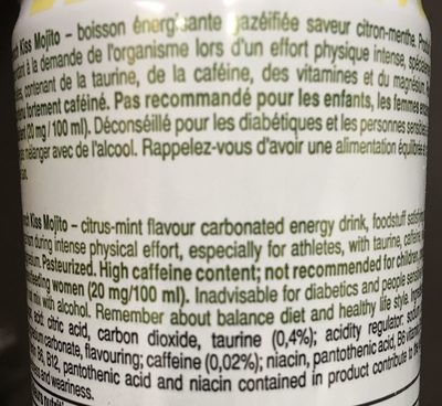 French kiss Energize Mojito - Ingrédients