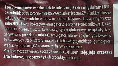 Lody waniliowe w czekoladzie mlecznej 27% z migdałami 6%. - 5