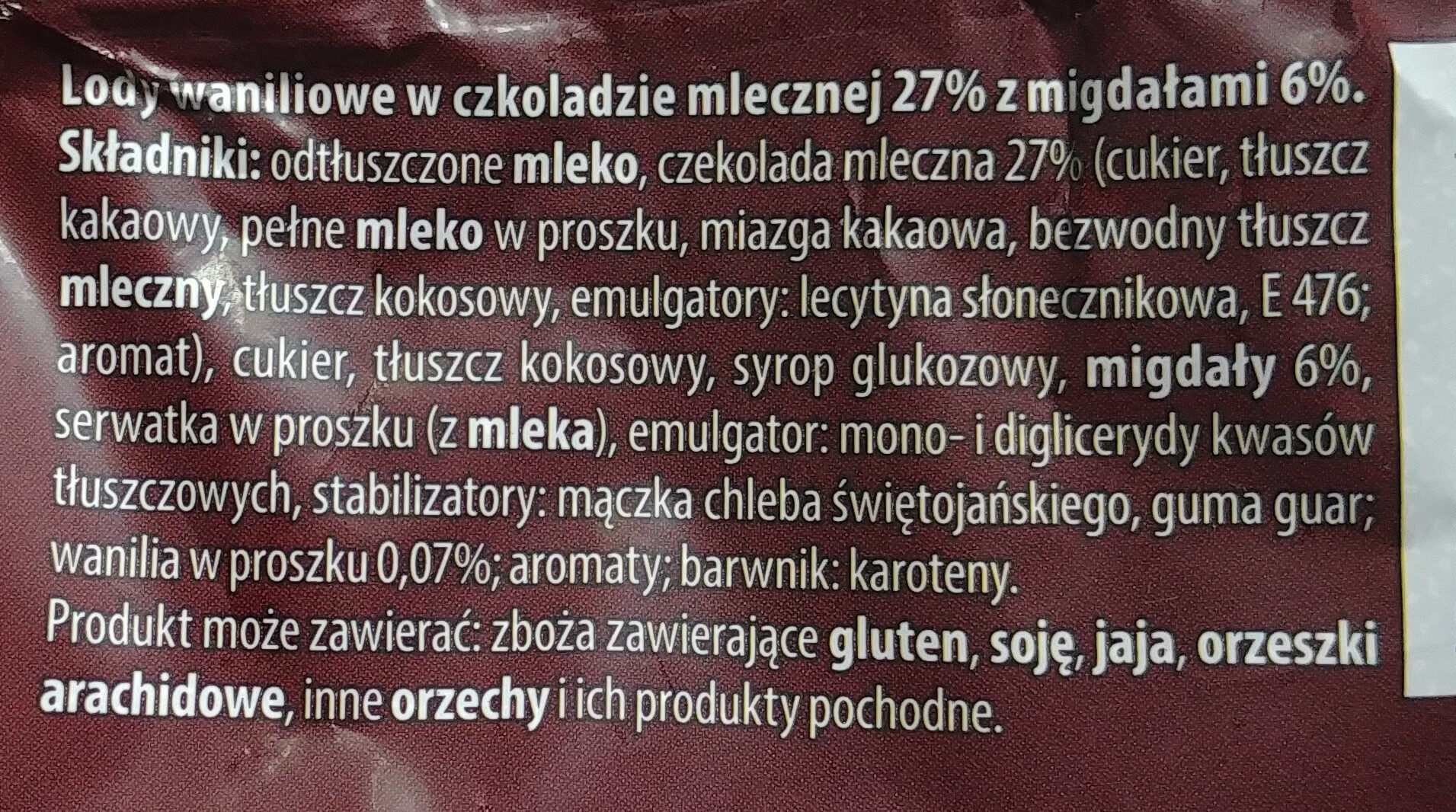 Lody waniliowe w czekoladzie mlecznej 27% z migdałami 6%. - Składniki - pl