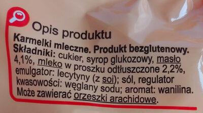 Karmelki mleczne - Składniki
