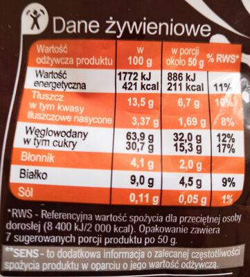 Poduszeczki zbożowe z kremem o smaku czekoladowym - Wartości odżywcze - pl