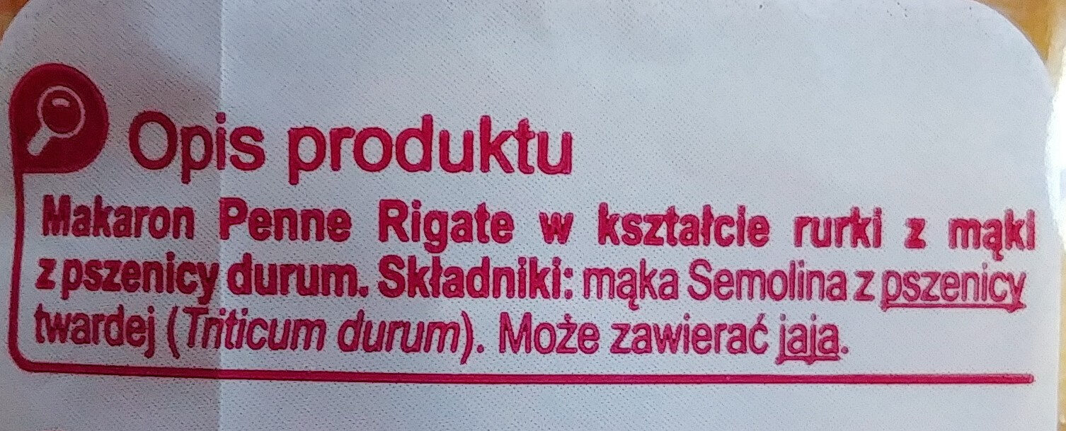 Makaron penne rigate - Składniki - pl