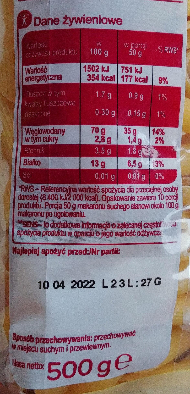 Makaron penne rigate - Wartości odżywcze - pl