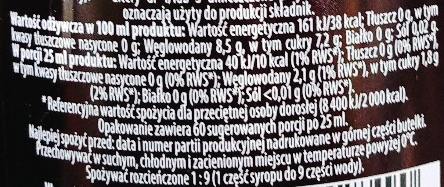 Syrop o smaku malinowo-cytrynowym - Wartości odżywcze - pl