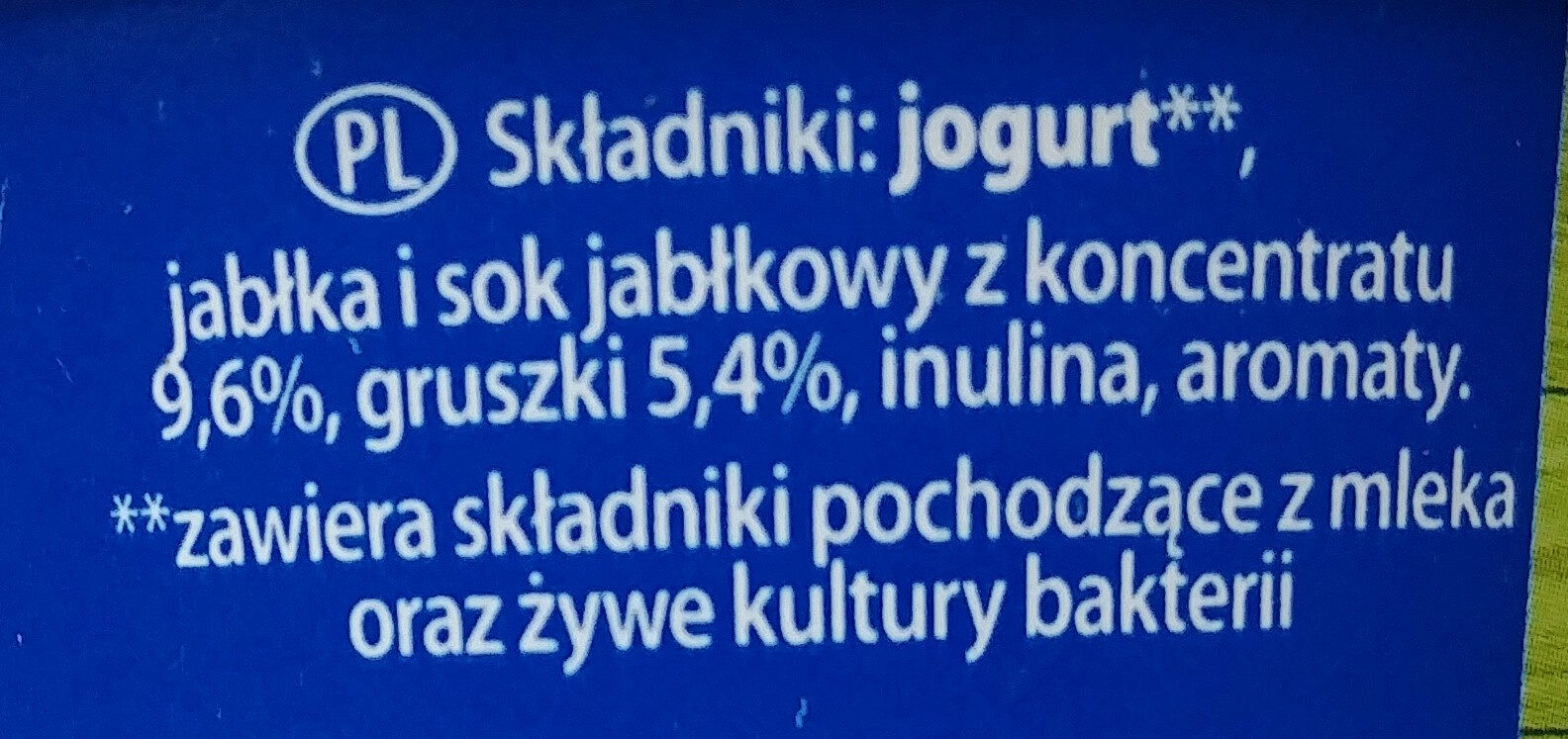 Jogurt jabłko i gruszka - Składniki - pl