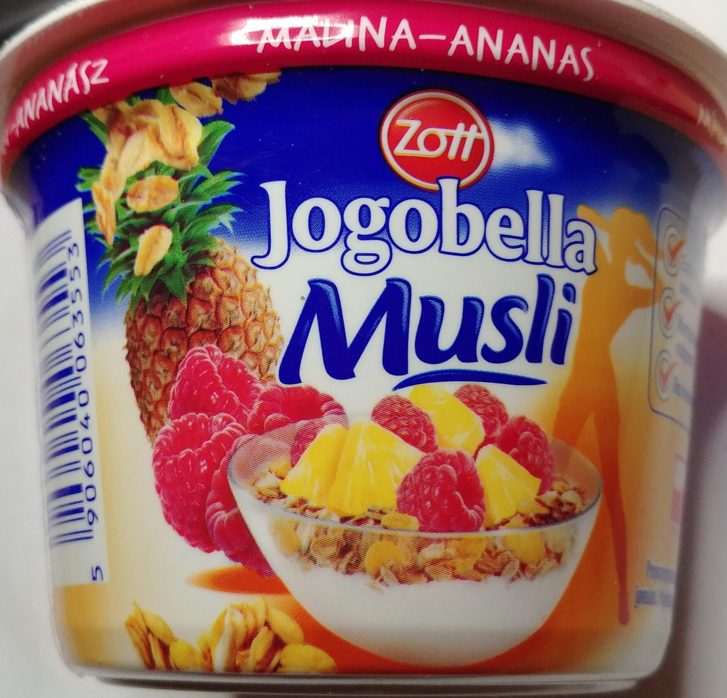 Jogurt z malinami i ananasem oraz z musli. - Produit