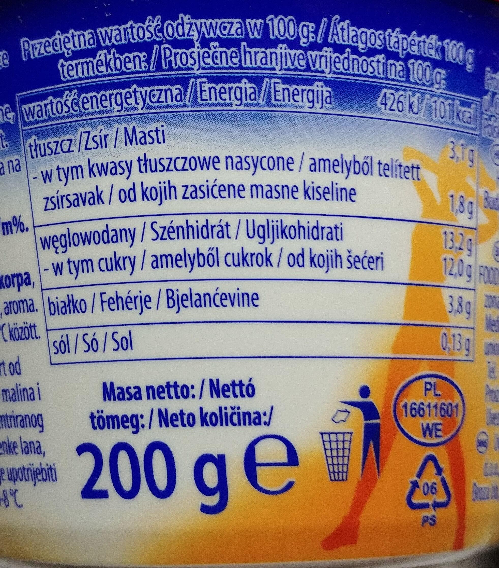 Jogurt z malinami i ananasem oraz z musli. - Informations nutritionnelles