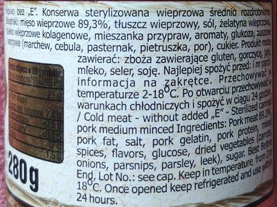 """Mięsiwo bez """"E"""" - Składniki"""