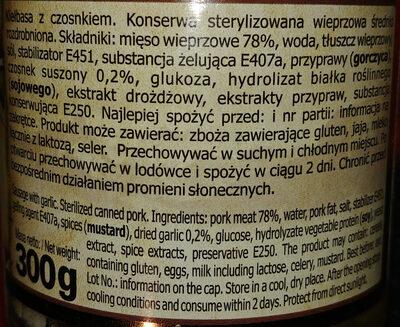 Kiełbasa z czosnkiem - Składniki - pl