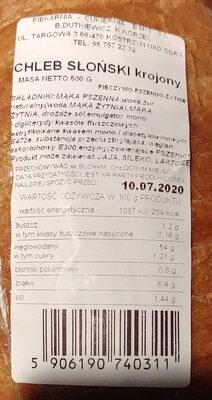 Chleb słoński krojony - Produkt - pl