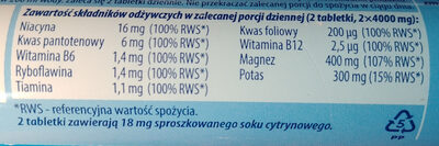Dwuwarstwowe tabletki musujące o smaku pomarańczowym z sokiem owocowym - Voedingswaarden
