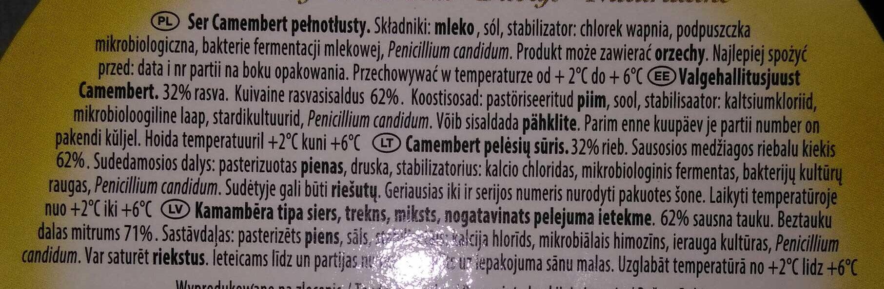 Ser Camembert pełnotłusty - Składniki