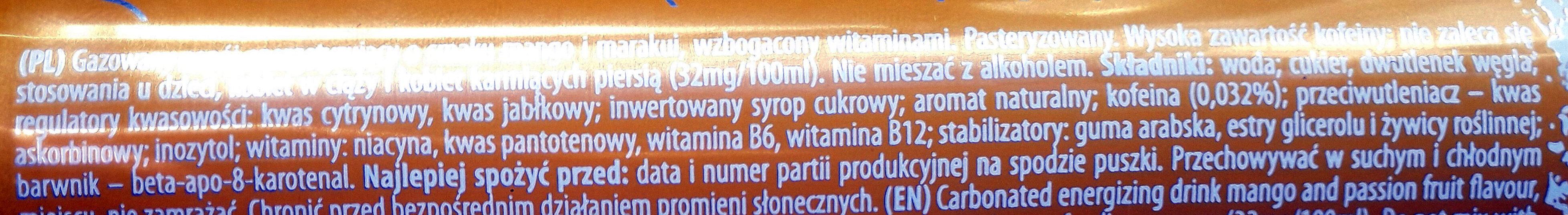 Gazowany napój energetyczny o smaku mango i marakui wzbogacony witaminami. - Inhaltsstoffe - pl