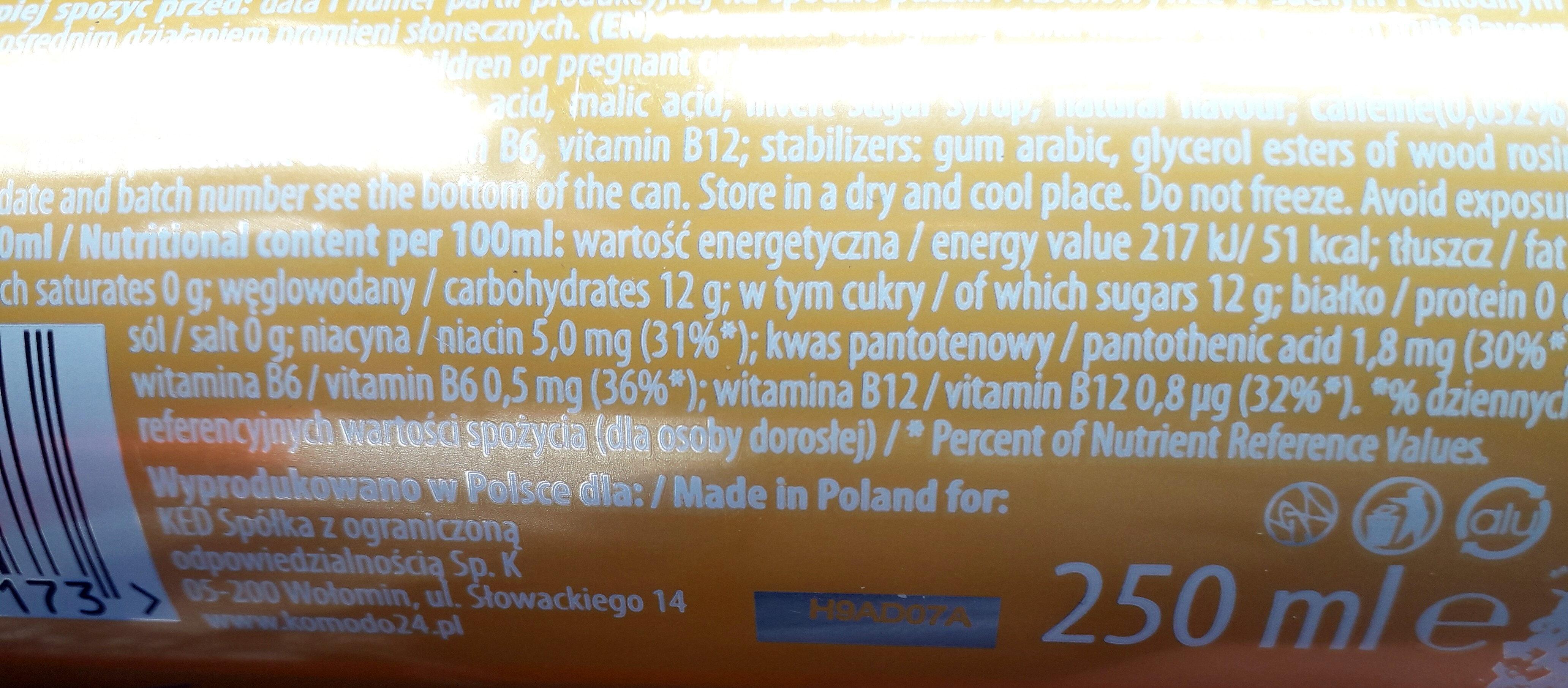 Gazowany napój energetyczny o smaku mango i marakui wzbogacony witaminami. - Nährwertangaben - pl