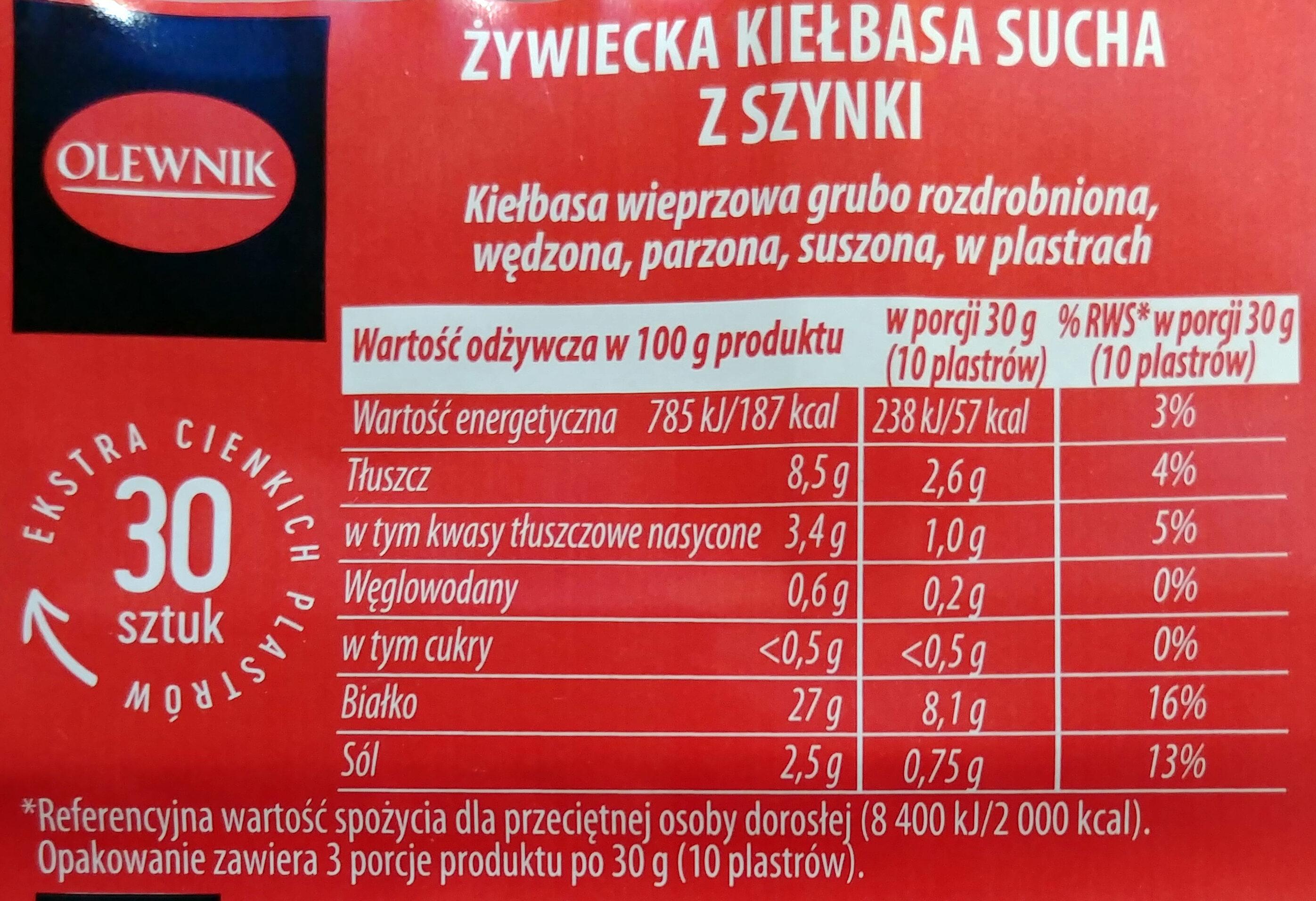 Żywiecka kiełbasa sucha z szynki. - Wartości odżywcze - pl