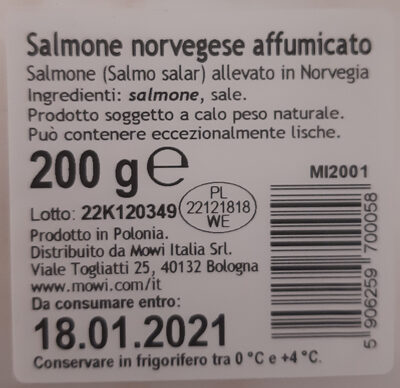Saumon fume de novege - Ingredienti - it