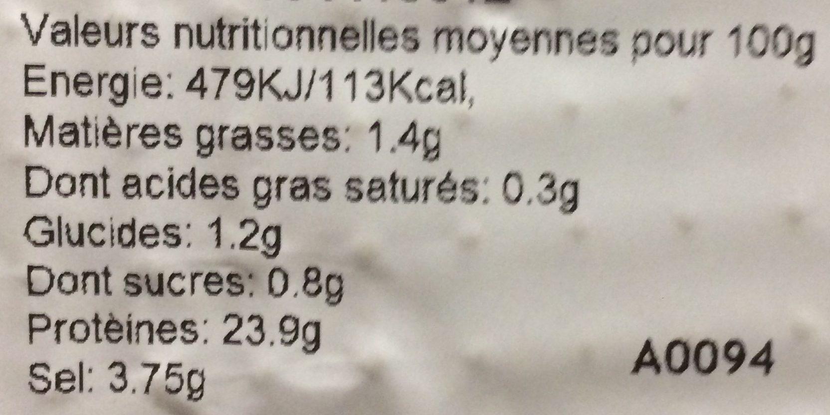 Saumon Sauvage Fumé au Bois de Hêtre - Nutrition facts